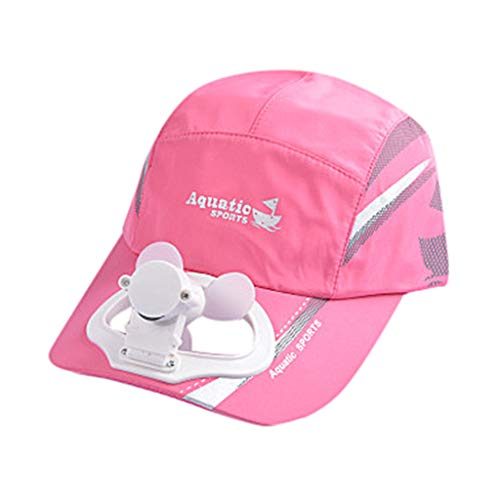 Transser Cooling Fan USB Charging Baseball Golf Hat Cool Fan for Women Men Summer Hats Cap for Sport Cycling Hiking (Hot Pink)