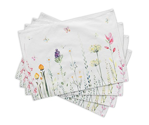 Maison d Hermine Botanical Fresh 100% Cotton Set of 4 Placemats 13 Inch by 19 Inch