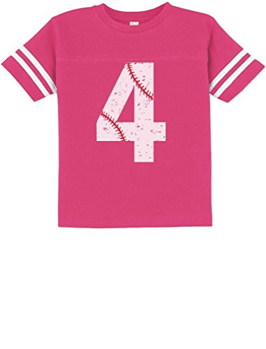 TeeStars - Baseball 4th Birthday Gift for Four Year Old Toddler Jersey T-Shirt 4T Wow Pink
