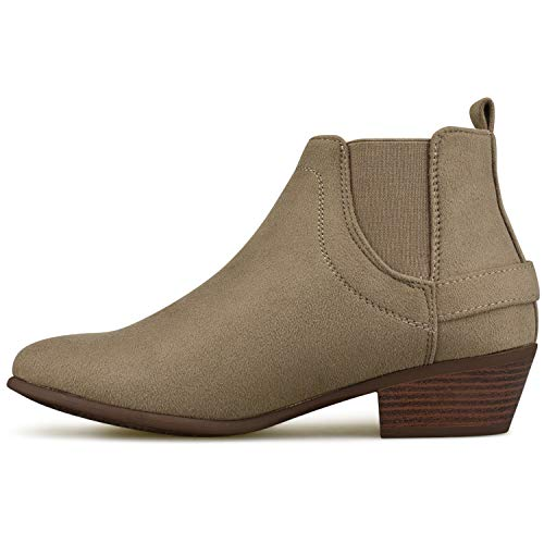 Elastic Heel Comfortable Shoe Low Comfortable Side Standard – Mocha Closed Women's Ankle Premier Toe Walking Panel Boot Bootie EO6wvSqp