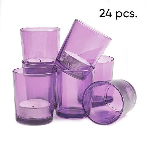 Premium Set of 24 Purple Clear Votive Candle Holder Ideal for Weddings, Parties, Special Events, Wholesale Bulk -
