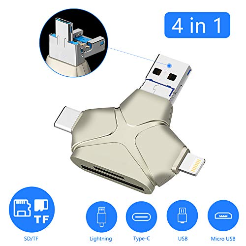 SD/TF/Micro SD Card Reader for iPhone Andriod Mac Computer/PC, 4 in 1 Memory Card Reader with USB/Type C/Micro USB/Lightning Adapter, OTG Multi-Function Portable External Camera Card Reader