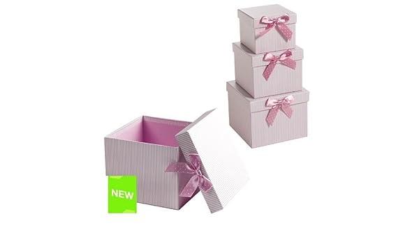 Home Line - Juego 3 Cajas Carton Rayas Rosa - 2131962: Amazon.es: Hogar