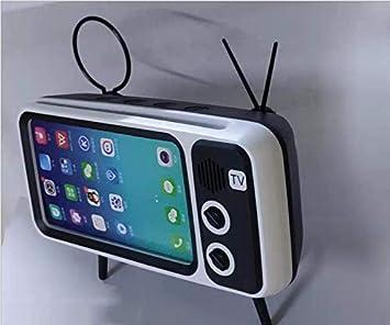Diseño de TV Retro Mini Altavoz Bluetooth Soporte para teléfono móvil Carga USB, Radio inalámbrica Vintage, Altavoz portátil, Soporte para teléfono Celular, Decoración de Arte (Black): Amazon.es: Electrónica