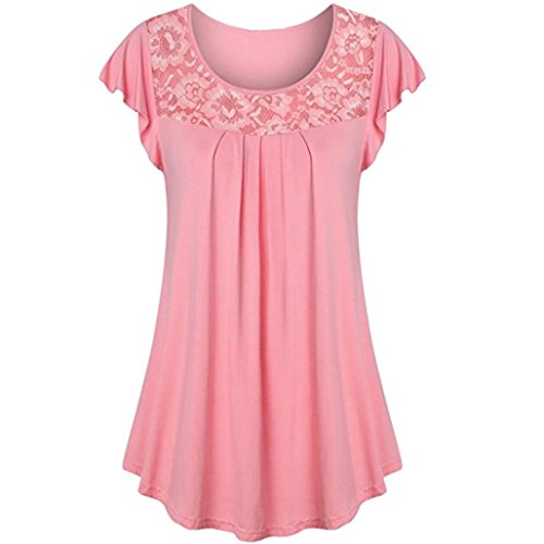 TOPUNDER Ladies Solid Tops Plain Shirt Lace Patchwork Ruched Short Sleeve Blouse for Women