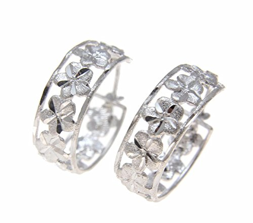 14K solid white gold Hawaiian plumeria flower hoop diamond cut border (Plumeria Flower Diamond Earrings)