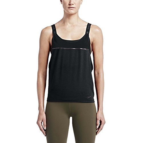 Nike Womens Dri-Fit Woven 2-in-1 Training Sports Top-Black-Small