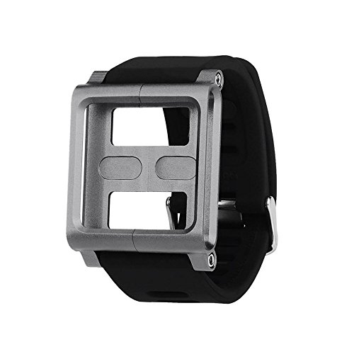 Tiean Aluminum Silicone Mix Multi-Touch Watch Band For iPod Nano 6/6th (Gray) (Pod Watch Band I)