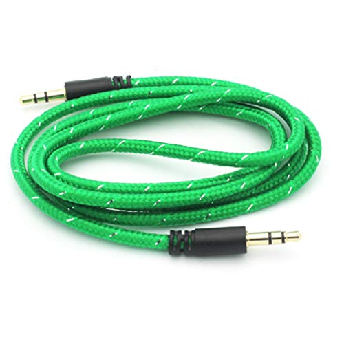 Green Braided Aux Cable Car Stereo Wire Audio Speaker Cord W7R Compatible with Dell Venue 8 Pro - Doro Doro 824 SmartEasy - HTC Google Nexus 9, Desire 626s 555 530 - Huawei MediaPad X1 T1 10