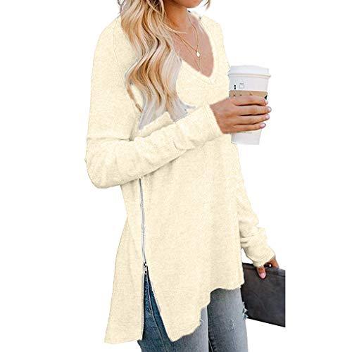 Ladies' Sweater Long Sleeve Split Side Zipper Loose Casual Pullover Tops V Neck Sweatershirt Outwear Hoodies WEI MOLO