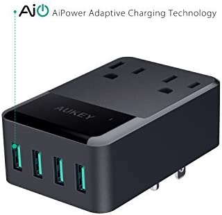 Tablet ETL Certified AUKEY Wall Charger with 2 Outlets and 4 USB Ports 30W USB Charger for Smartphones Laptop and More
