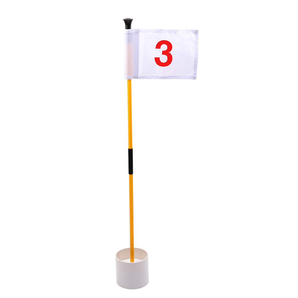 KINGTOP Practice Putting Green Flagstick, Portable Golf Pin Flags, Indoor/Outdoor, 2-Section Design, Solid White Flag, Red Numbered #3