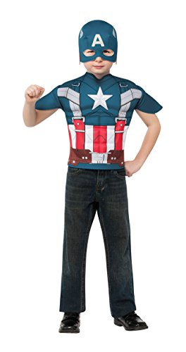Captain America: The Winter Soldier, Captain America Muscle-Chest Retro Style Costume Top and Mask, Child Standard -