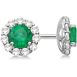 Halo Emerald and Diamond Stud Earrings 14kt White Gold 2.12ct.