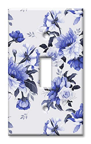 (Art Plates 1 Gang Toggle Wall Plate - Blue Roses )