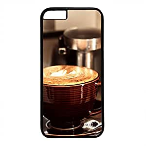 Hard Back Cover Case for iphone 6,Cool Fashion Black PC Shell Skin for iphone 6 with Cappuccino Cup