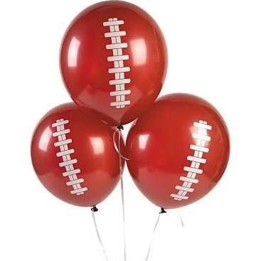- Football Balloons, Superbowl, Brown, Set of 12