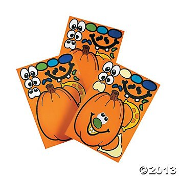 12 MAKE a Jack O'Lantern/PUMPKIN Sticker Sheets/HALLOWEEN Party