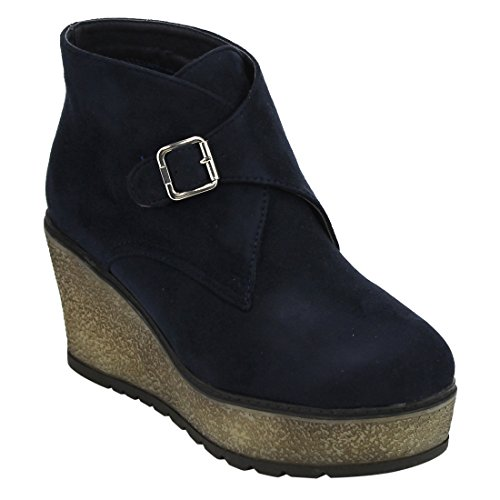 Beston EJ33 Womens Buckle Strap Platfrom Wedge Ankle Booties Half Size Small Navy FOhF4c59i