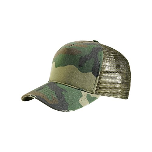 Camo Trucker Hat - MG Unisex Summer Trucker Washed Cap-9027-CAMO