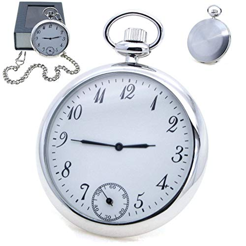 (Silver Tone Men Pocket Watch Quartz with Small Second Open Face Big Size 53 MM P166A)