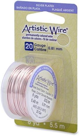 アーティスティック クラフトワイヤー・シルバープレート製ローズゴールド色・ゲージ20/5.4メートル