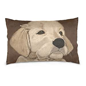 Amazon Com Puppy Dog Paint Rectangle Throw Pillow Covers