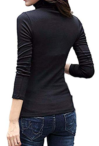 - LIREROJE Womens Cotton Plain Long Sleeve Turtleneck Top T-Shirt 02 Black L