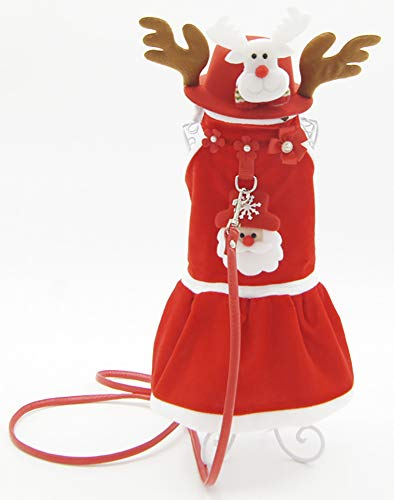 (ChezAbbey Dogs Winter Fleece Clothes Christmas Cute Deer Shaped Costumes Suits for Small Dogs and Cats)