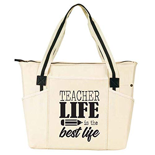 Teacher Life is the Best Life - Large Zippered Teacher Tote Bags with Pockets - Perfect for Work, Gifts for Teachers, Teacher Appreciaiton Day (Teacher Life Best Life Natural)]()