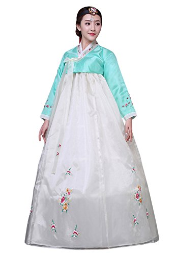 CRB Fashion Womens Ladies Korean Traditional Hanbok Dress Outfit Costume with Embroidery Flower Details (Extra Small, Aqua)