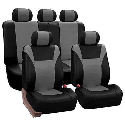 - FH-PU003115 Racing PU Leather Car Full Set Seat Covers, Airbag Ready and Split, Gray / Black Color - Fit Most Car, Truck, Suv, or Van