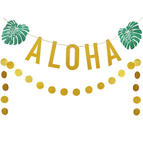Gold Glittery ALOHA Green Leaves Garland and Gold Glittery Circle Dots Garland(25pcs Circle Dots),Hawaiian Tropical Luau Beach Summer Party Decoration Supplies ()