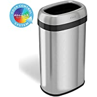 iTouchless 16 Gallon Oval Open Top Trash Can & Recycle Bin