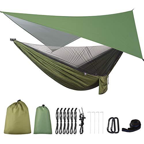 FIRINER Camping Hammock with Rain Fly Tarp and Mosquito Net Tent Tree Straps, Portable Single Double Nylon Parachute…