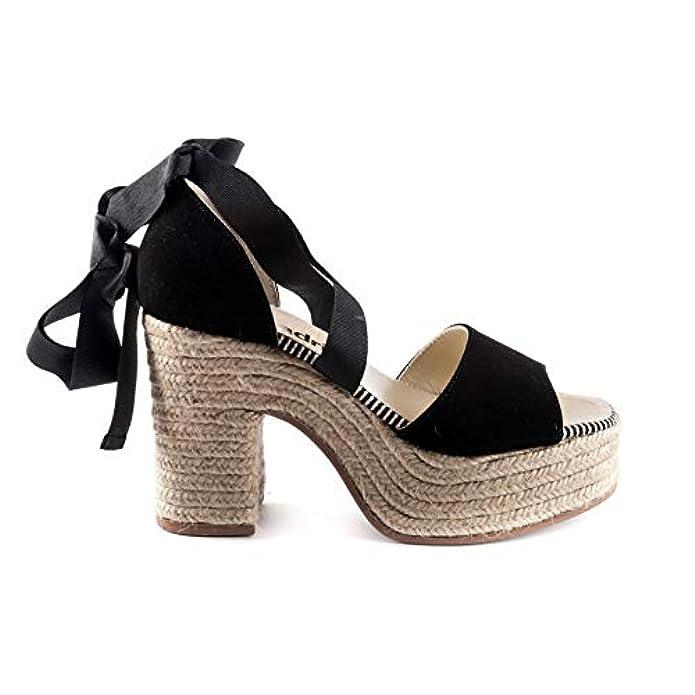 Espadrilles Scarpe Sandalo Donna Lady Ante Negro Pe18