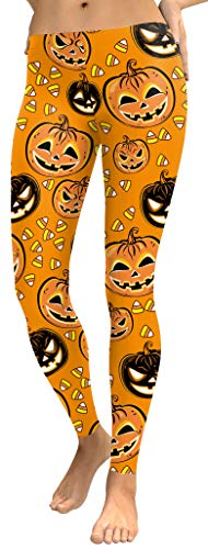 For G and PL Halloween Women Pumpkin Funny Costume Casual Stretchy Leggings S