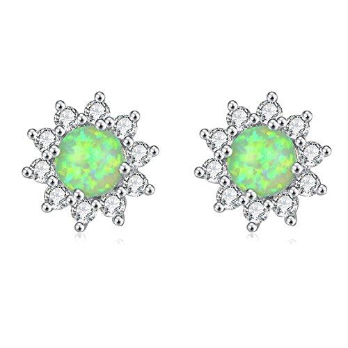 (CiNily Opal Stud Earrings-Flower Earrings for Women Green Opal Zircon Rhodium Plated Girls Hypoallergenic Earring Jewelry Gifts Gemstone Stud Earrings 12mm)