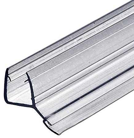 Gedotec Glastürdichtung Dusche Lippendichtung Duschtür-Dichtung für Duschkabinen 135° zum Abdichten vom Boden | 2000 mm | PVC Transparent | Wasserabweiser für Glasdicke 8-10 mm | 5 Stück GedoTec®