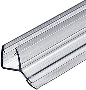 SELLO DE PUERTA CRISTAL ducha Sellado labios para mamparas 135° Cerrar Herméticamente del Suelo duschtür-dichtung Longitud 2000 MM PVC TRANSPARENTE AGUA SABIO GRUESO 8-10mm - Transparente, 2000 mm: Amazon.es: Bricolaje y herramientas