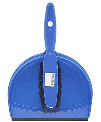 The Hill Brush HN071-B Plastic Dustpan and Brush Set, Blue