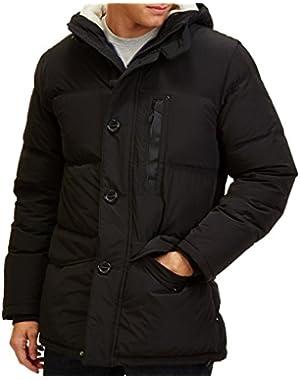 Deep Mens Hooded Full-Zip Windbreaker Jacket Black 2XL