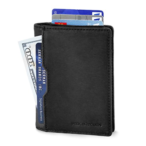 Wallets for Men Slim Mens leather RFID Blocking Minimalist Card Front Pocket Bifold Travel Thin (Charcoal Black 5.0)