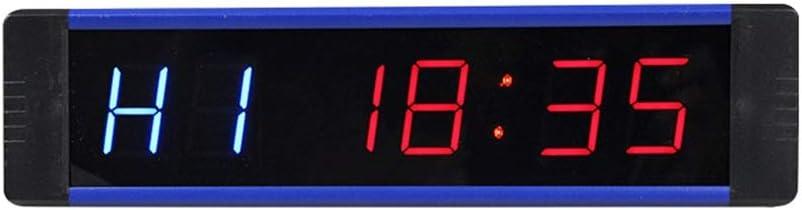 モダンデザイン - シンプルインターバルタイマーワークアウトタイミングカウントダウンLEDデジタル時計デスクオフィスウォールクロック自動時間変更 (色 : 青, サイズ : 21X5X2.5CM) 青 21X5X2.5CM