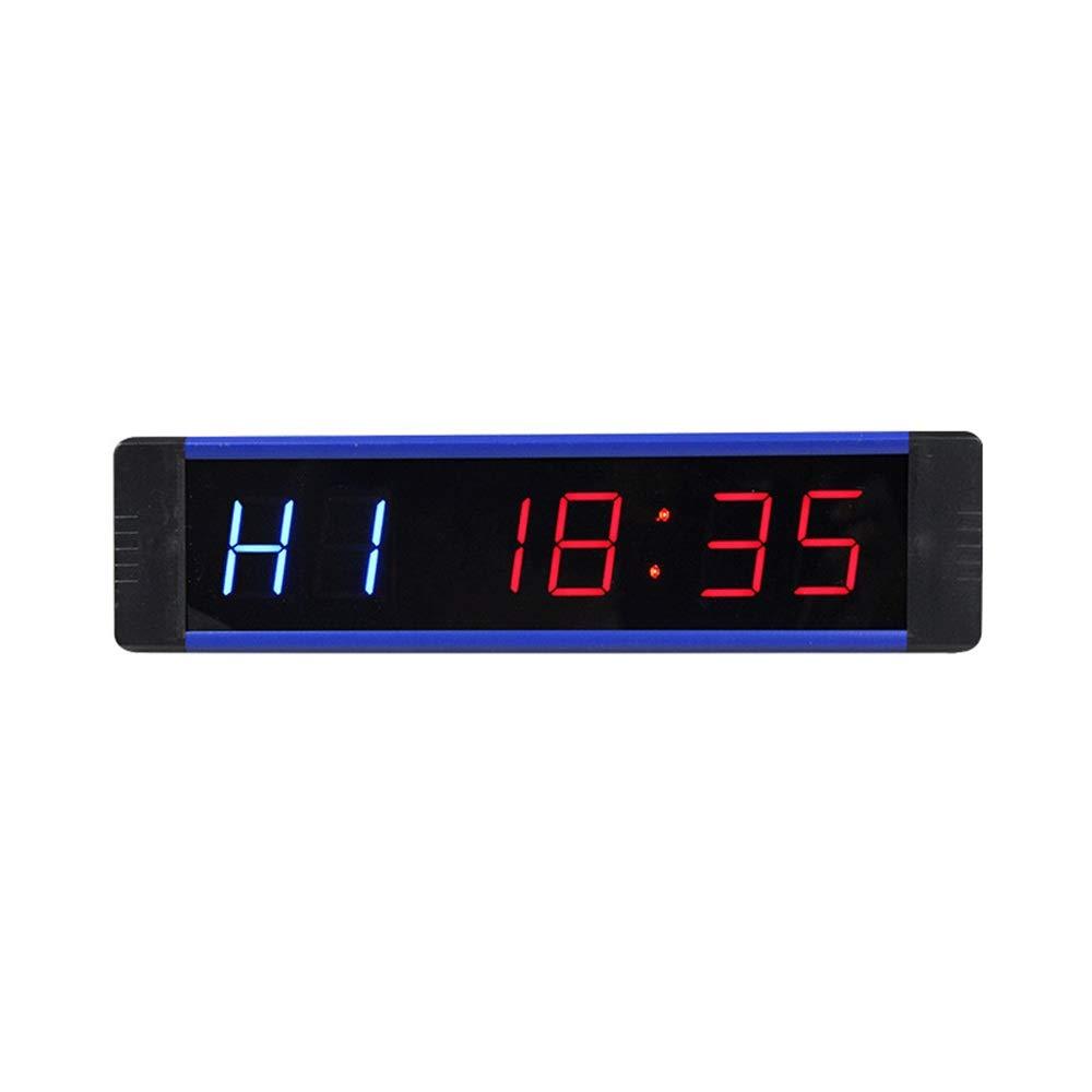 スポーツタイマー デ カウントダウンクロック インターバルタイマーワークアウトタイミングカウントダウンLEDデジタル時計デスクオフィスウォールクロック 大型デジタルカウントダウン時計 (色 : 青, サイズ : 21X5X2.5CM) 青 21X5X2.5CM