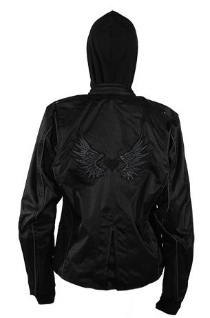 Women's Textile Jacket With Reflective Wings and Heart (Size 4XL, 4X-Large) (Jacket Womens Textile Biker)