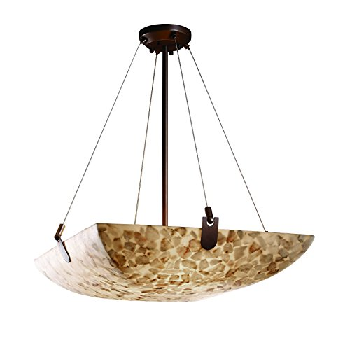 "Justice Design Group ALR-9622-25-NCKL Alabaster Rocks! Collection 24"" Pendant Bowl Light Fixture with U-Clips"