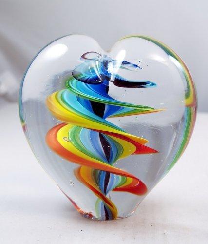 (M Designed Art Hand Glass Art Twirled Rainbow Stripes Paperweight XL PW-6009)