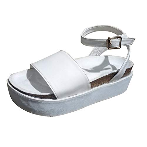 Byyong Women's Platform Strappy Sandals Chunky Wedges Shoes Leisure Ankle Strap Peep Toe Outdoor Shoes Beach Sandals(US:6.5, White)