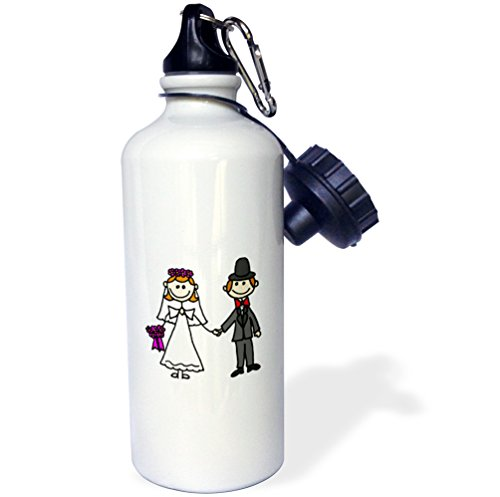 Stick Figure Wedding - 3dRose wb_218077_1 Funny Stick Figure Wedding Bride and Groom Sports Water Bottle, Multicolored, 21 oz